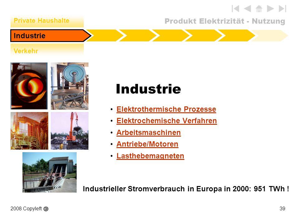 Industrieller Stromverbrauch in Europa in 2000: 951 TWh !