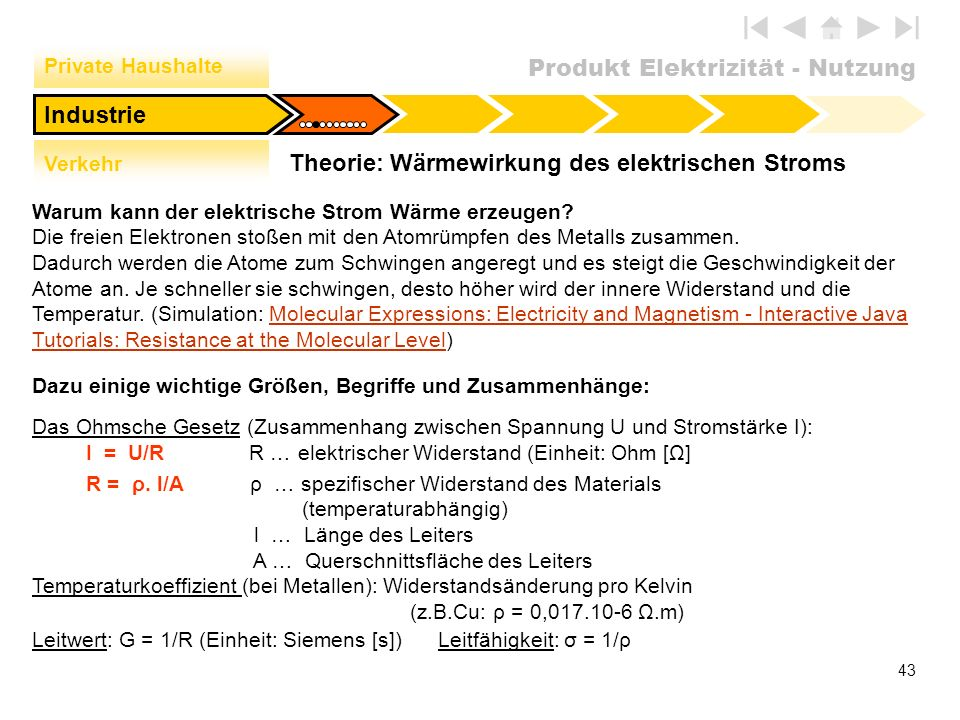 Theorie: Wärmewirkung des elektrischen Stroms