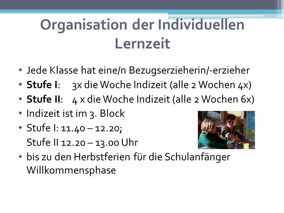 Organisation der Individuellen Lernzeit