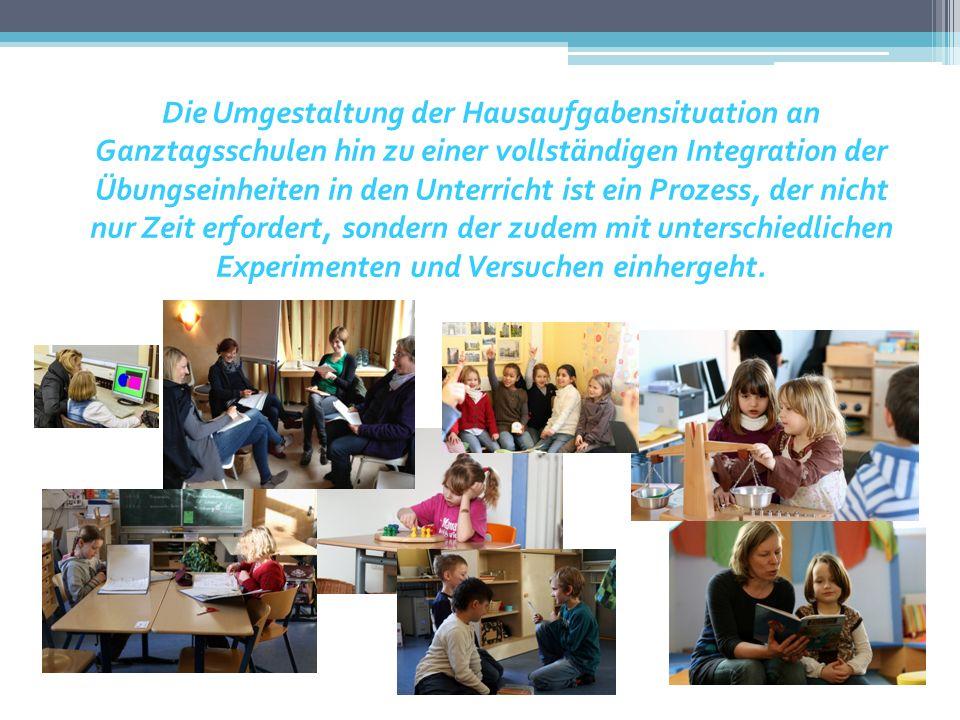 Die Umgestaltung der Hausaufgabensituation an Ganztagsschulen hin zu einer vollständigen Integration der Übungseinheiten in den Unterricht ist ein Prozess, der nicht nur Zeit erfordert, sondern der zudem mit unterschiedlichen Experimenten und Versuchen einhergeht.