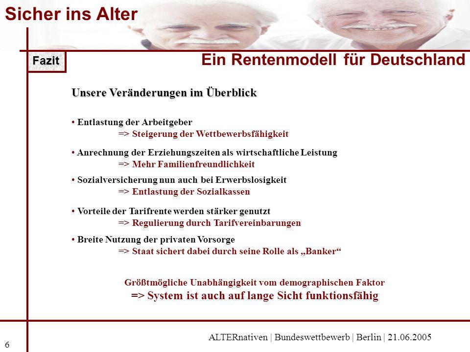 Sicher ins Alter Ein Rentenmodell für Deutschland Fazit