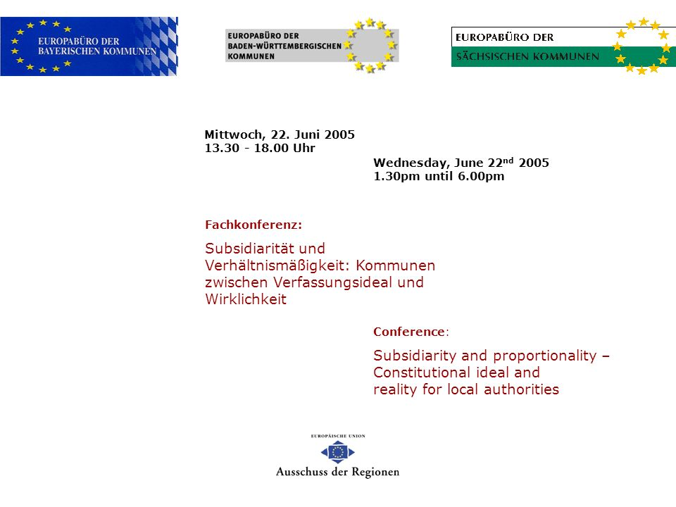 Mittwoch, 22. Juni 2005 13.30 - 18.00 Uhr Wednesday, June 22nd 2005 1.30pm until 6.00pm. Fachkonferenz: