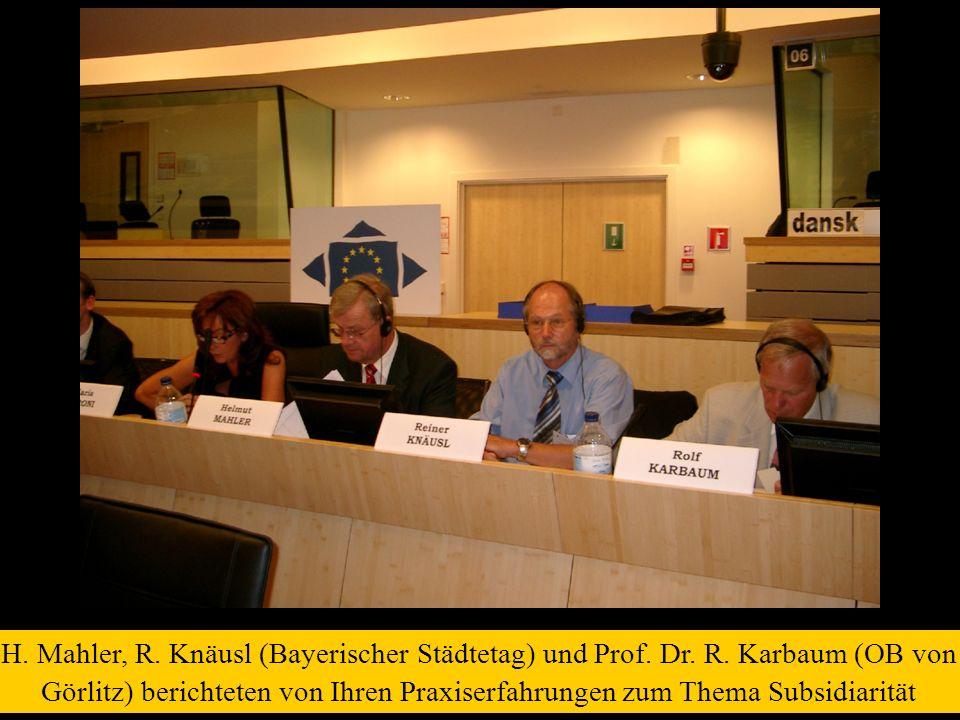 H. Mahler, R. Knäusl (Bayerischer Städtetag) und Prof. Dr. R