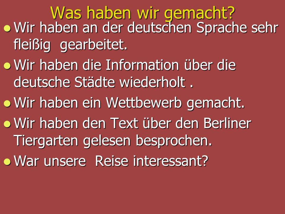 Was haben wir gemacht Wir haben an der deutschen Sprache sehr fleißig gearbeitet. Wir haben die Information über die deutsche Städte wiederholt .