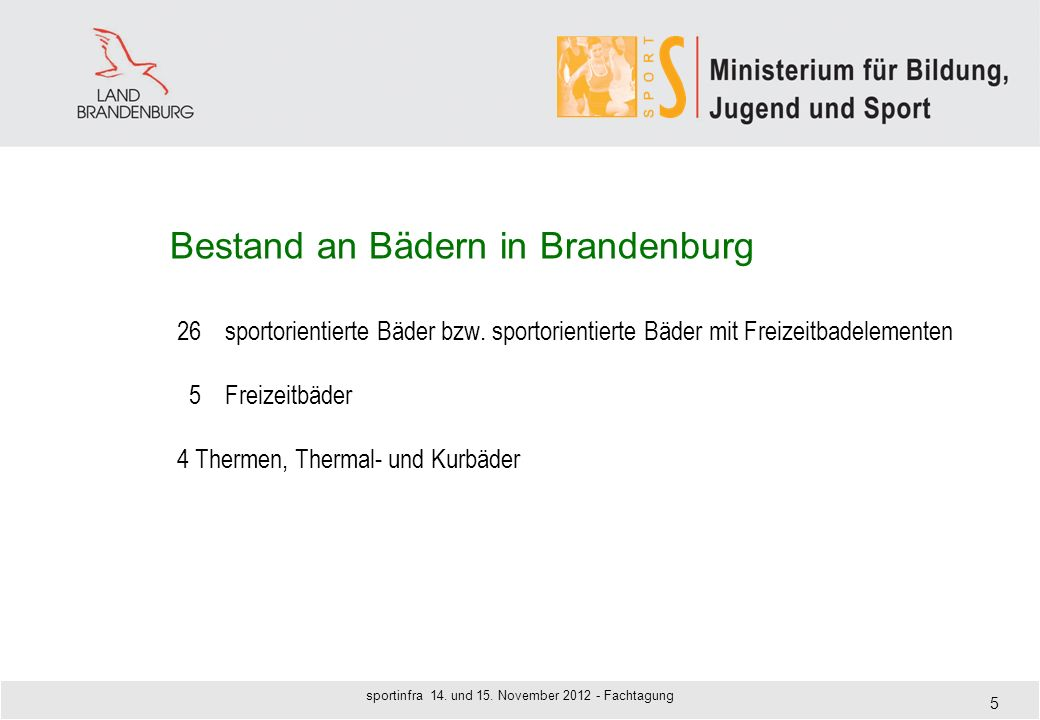 Bestand an Bädern in Brandenburg