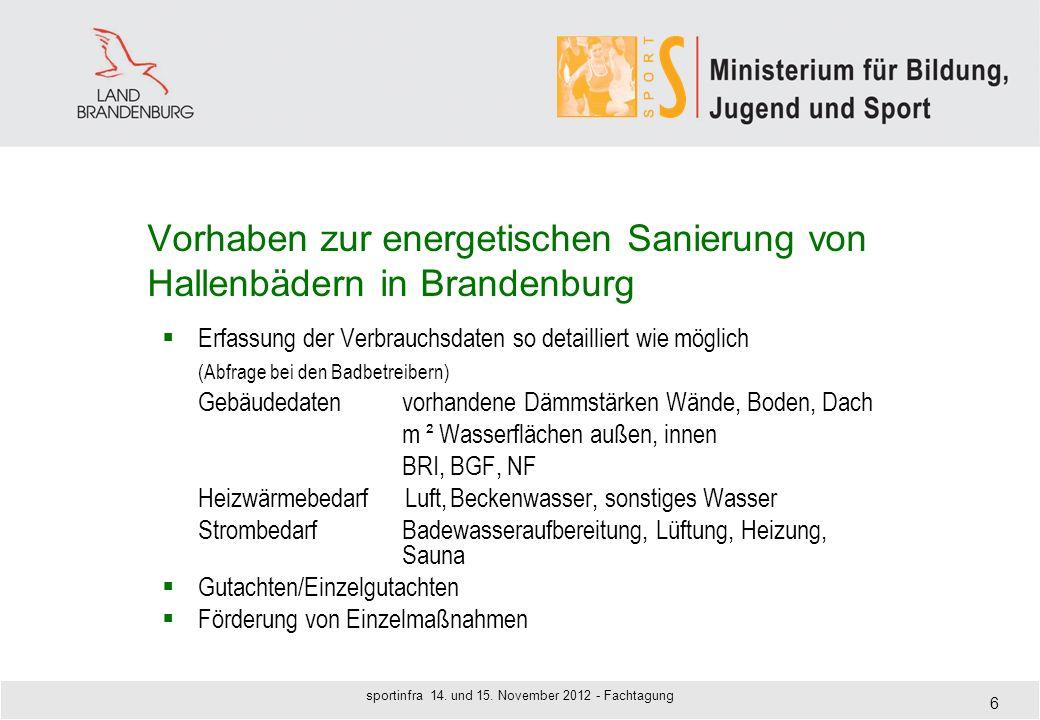 Vorhaben zur energetischen Sanierung von Hallenbädern in Brandenburg