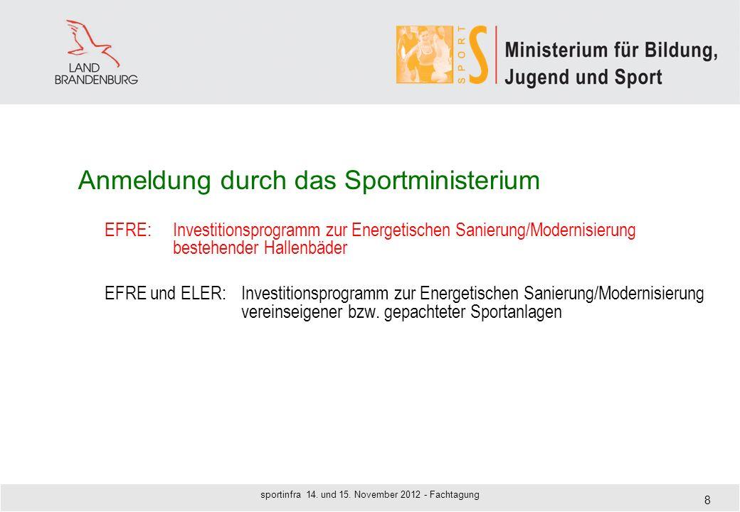 Anmeldung durch das Sportministerium