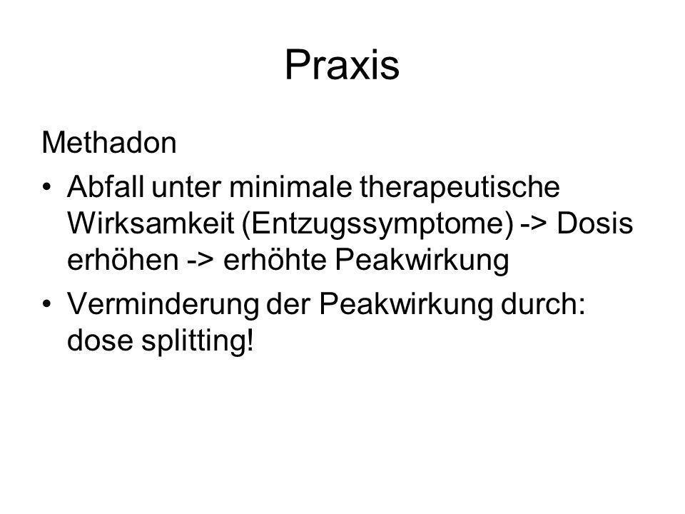 Praxis Methadon. Abfall unter minimale therapeutische Wirksamkeit (Entzugssymptome) -> Dosis erhöhen -> erhöhte Peakwirkung.