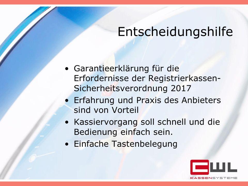 Entscheidungshilfe Garantieerklärung für die Erfordernisse der Registrierkassen-Sicherheitsverordnung 2017.