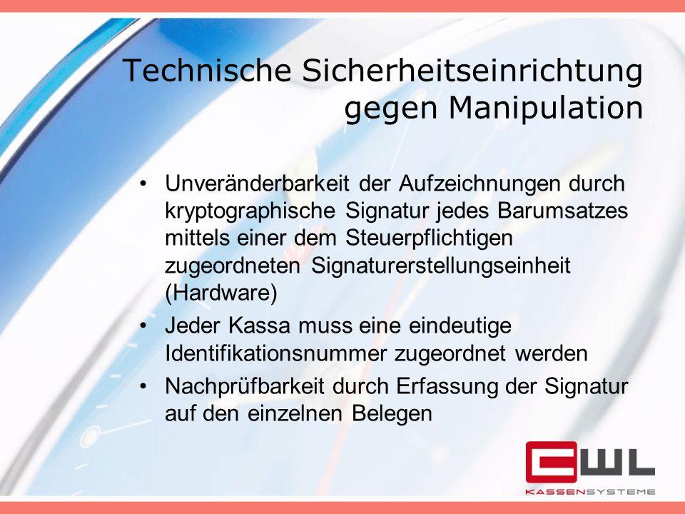 Technische Sicherheitseinrichtung gegen Manipulation