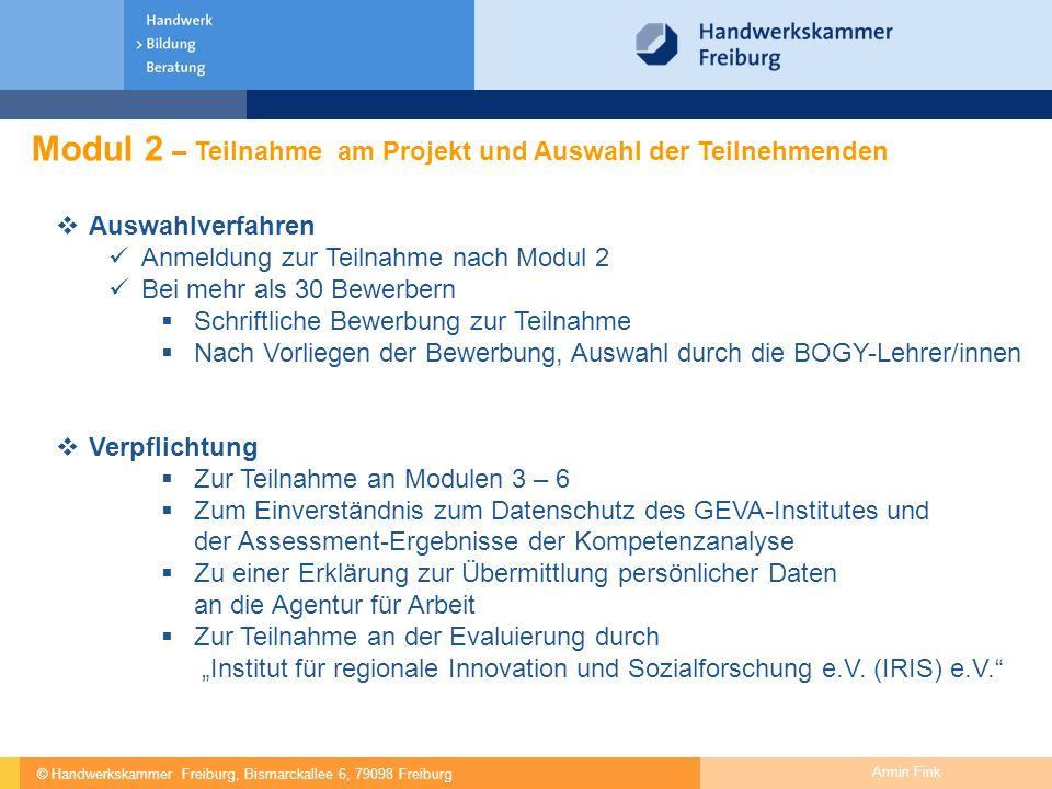 Modul 2 – Teilnahme am Projekt und Auswahl der Teilnehmenden