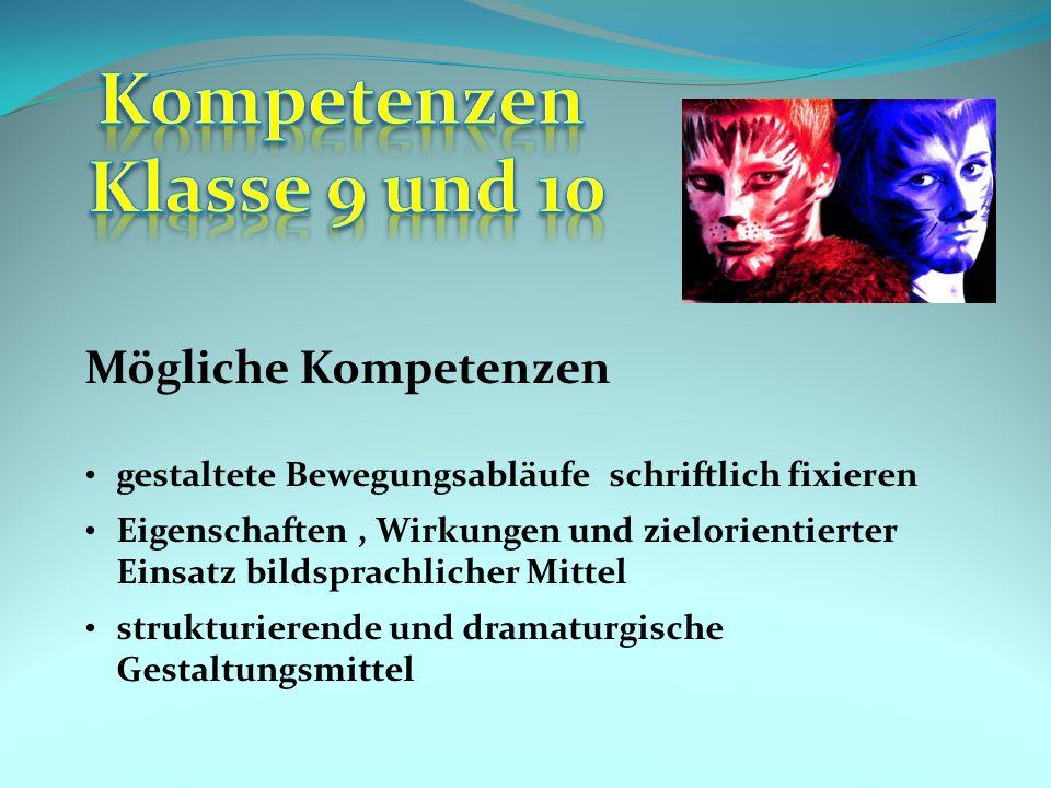 Kompetenzen Klasse 9 und 10
