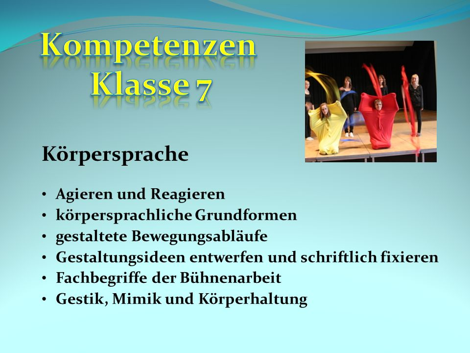Kompetenzen Klasse 7 Körpersprache Agieren und Reagieren
