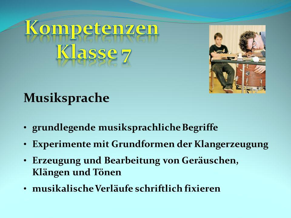 Kompetenzen Klasse 7 Musiksprache