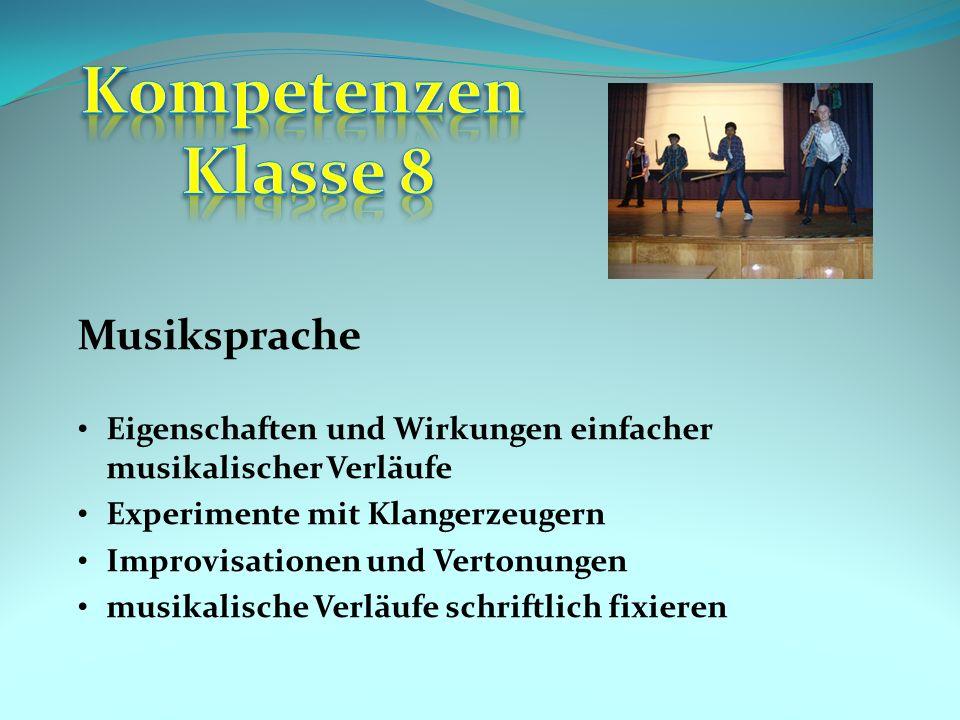Kompetenzen Klasse 8 Musiksprache