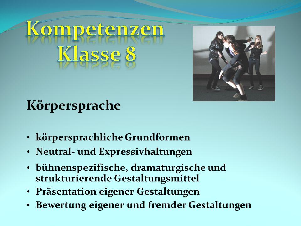 Kompetenzen Klasse 8 Körpersprache körpersprachliche Grundformen