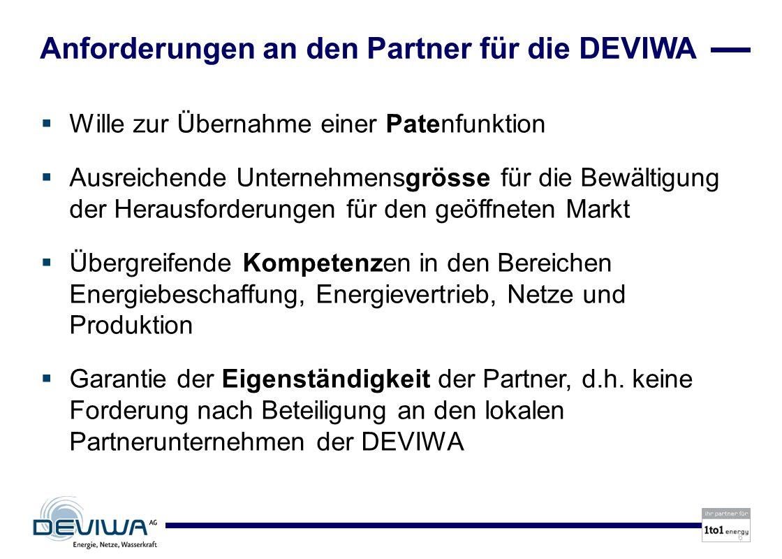 Anforderungen an den Partner für die DEVIWA