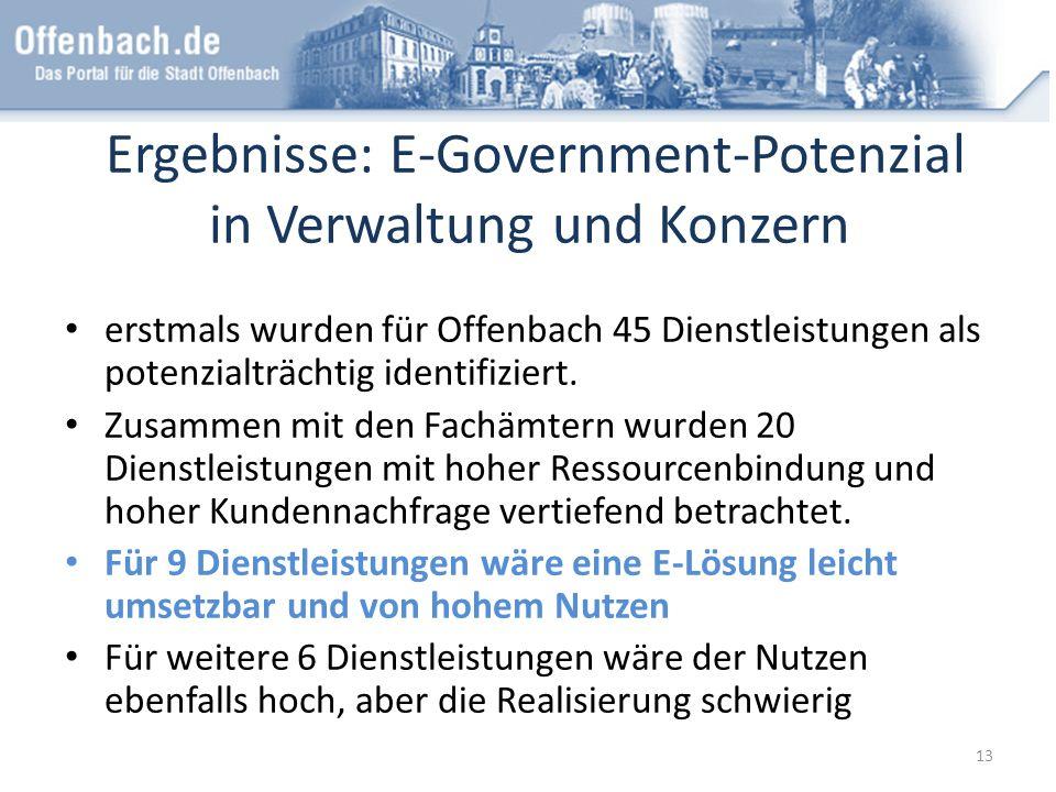 Ergebnisse: E-Government-Potenzial in Verwaltung und Konzern