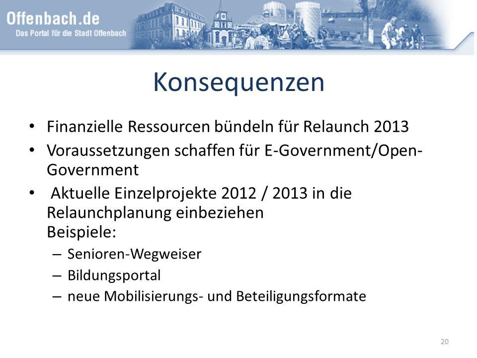 Konsequenzen Finanzielle Ressourcen bündeln für Relaunch 2013