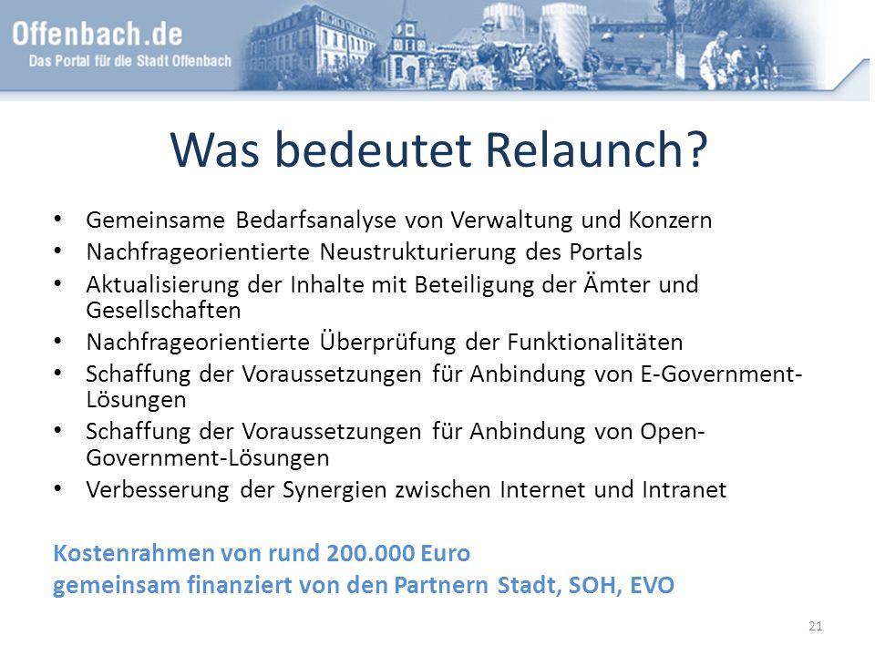Was bedeutet Relaunch Gemeinsame Bedarfsanalyse von Verwaltung und Konzern. Nachfrageorientierte Neustrukturierung des Portals.