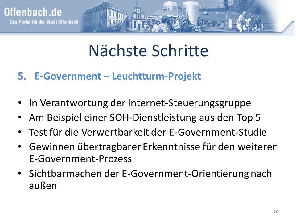 Nächste Schritte E-Government – Leuchtturm-Projekt