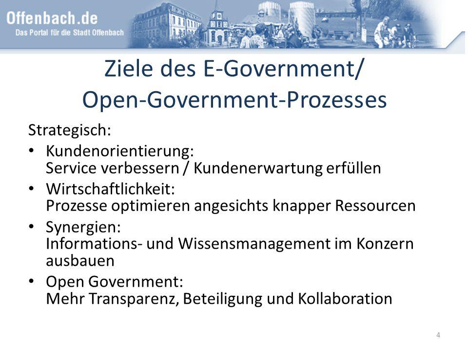 Ziele des E-Government/ Open-Government-Prozesses