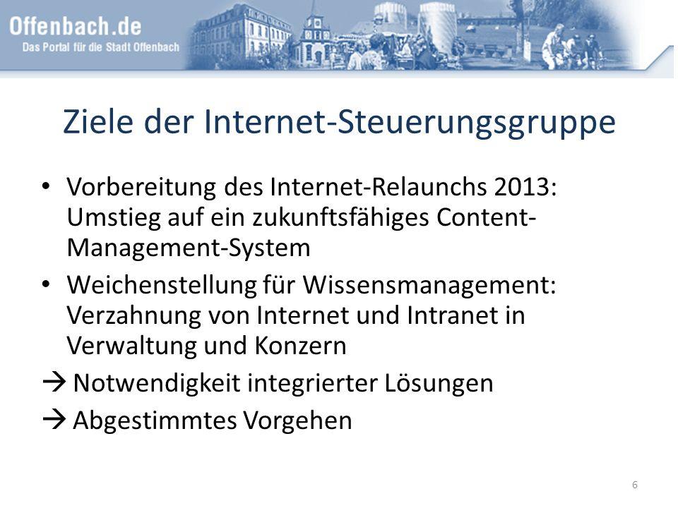 Ziele der Internet-Steuerungsgruppe