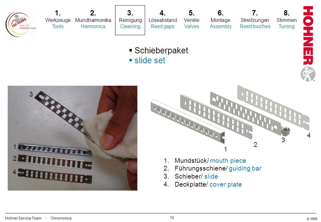 Schieberpaket slide set 1. 2. 3. 4. 5. 6. 7. 8. 3 4 3 2 1 1 2