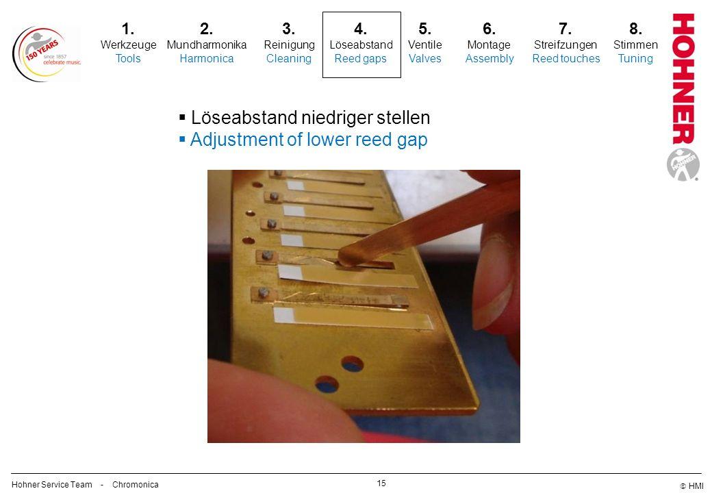 Löseabstand niedriger stellen Adjustment of lower reed gap
