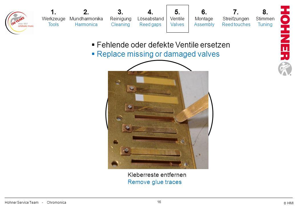 5. Fehlende oder defekte Ventile ersetzen
