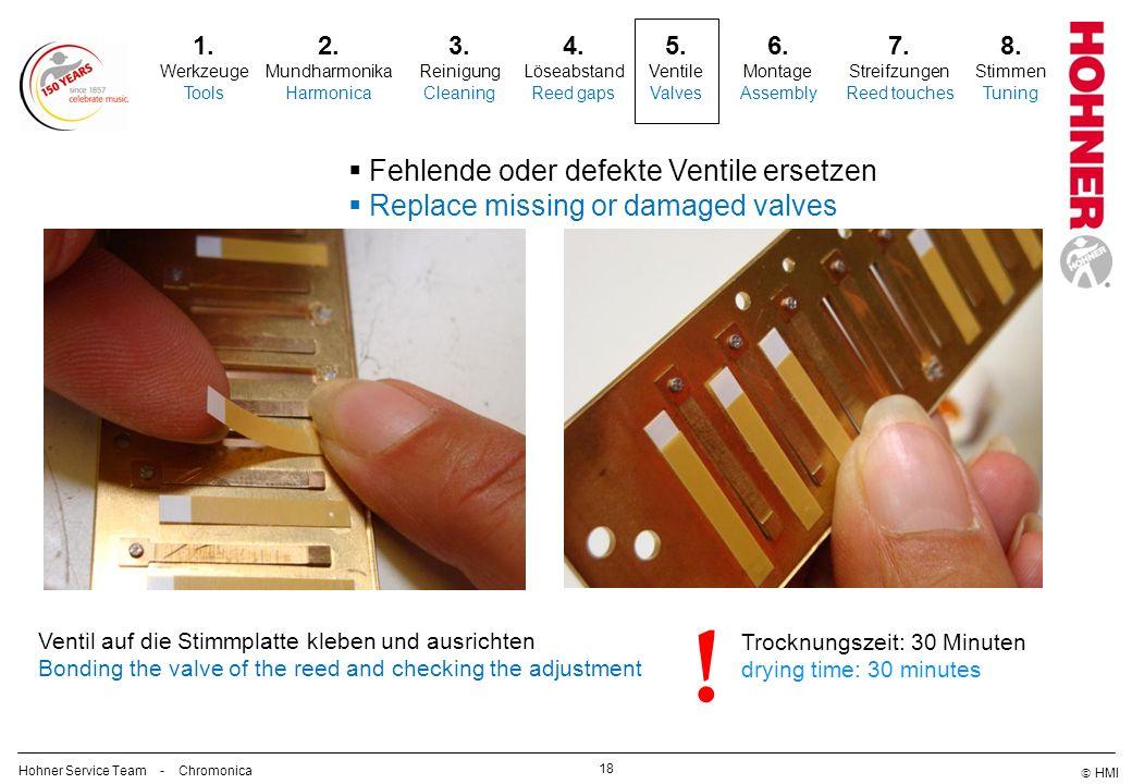 ! Fehlende oder defekte Ventile ersetzen