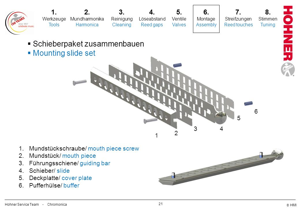 Schieberpaket zusammenbauen Mounting slide set