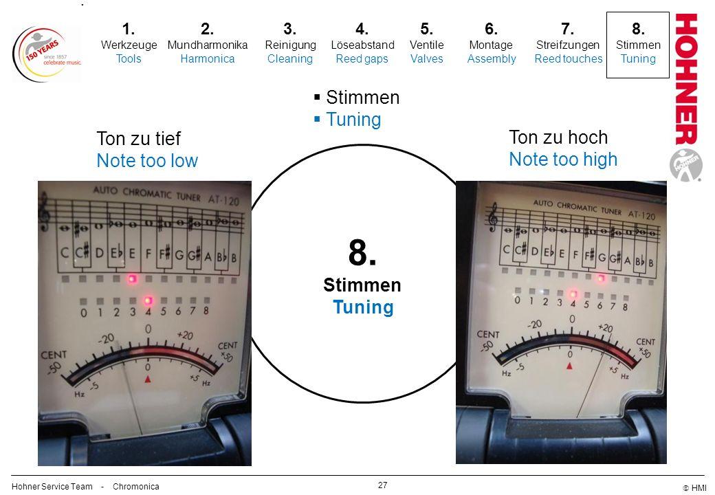 8. Stimmen Tuning Ton zu tief Ton zu hoch Note too low Note too high