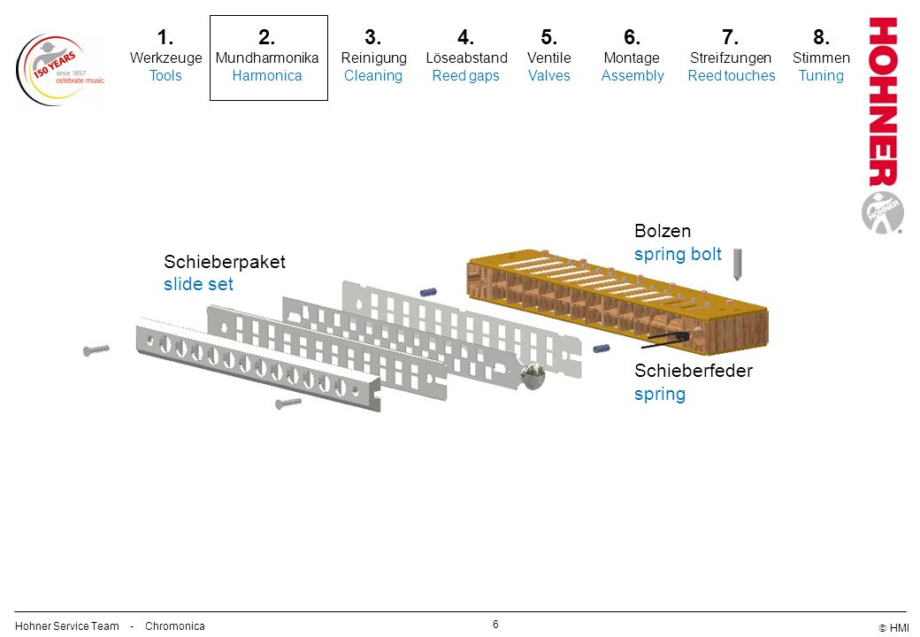 1. 2. 3. 4. 5. 6. 7. 8. Bolzen spring bolt Schieberpaket slide set