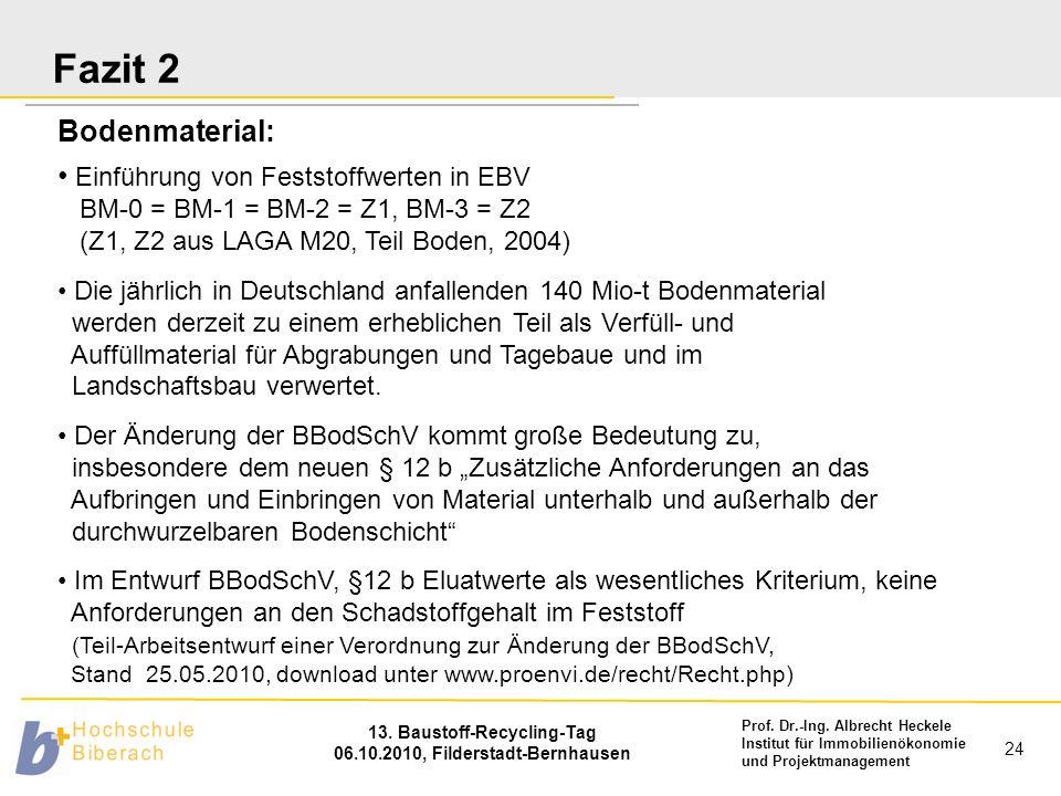 Fazit 2 Bodenmaterial: Einführung von Feststoffwerten in EBV BM-0 = BM-1 = BM-2 = Z1, BM-3 = Z2 (Z1, Z2 aus LAGA M20, Teil Boden, 2004)
