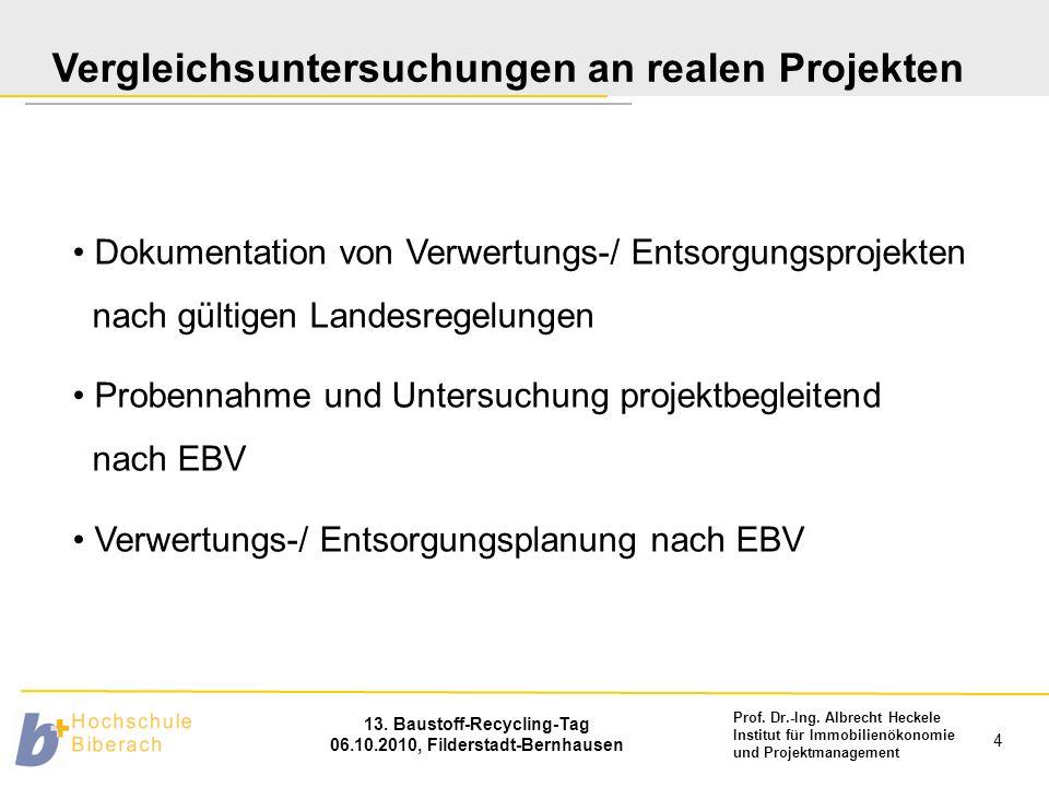 Vergleichsuntersuchungen an realen Projekten