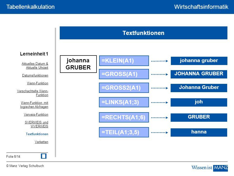 ü Textfunktionen johanna GRUBER =KLEIN(A1) =GROSS(A1) =GROSS2(A1)