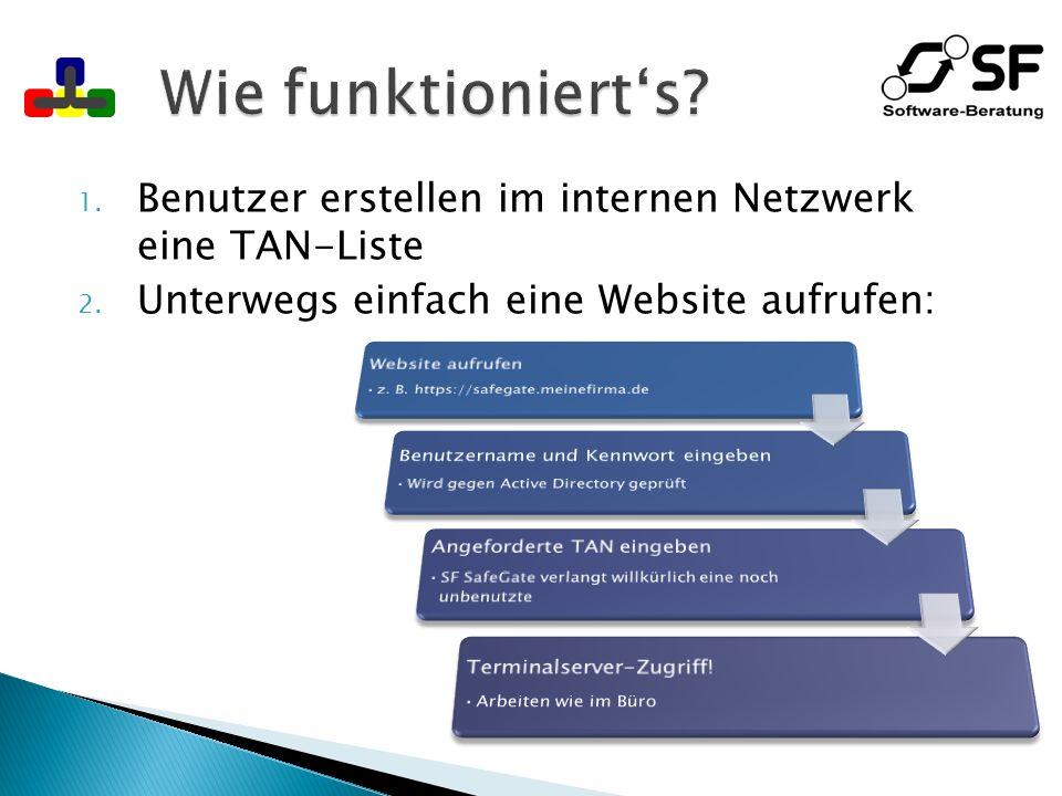 Wie funktioniert's Benutzer erstellen im internen Netzwerk eine TAN-Liste. Unterwegs einfach eine Website aufrufen: