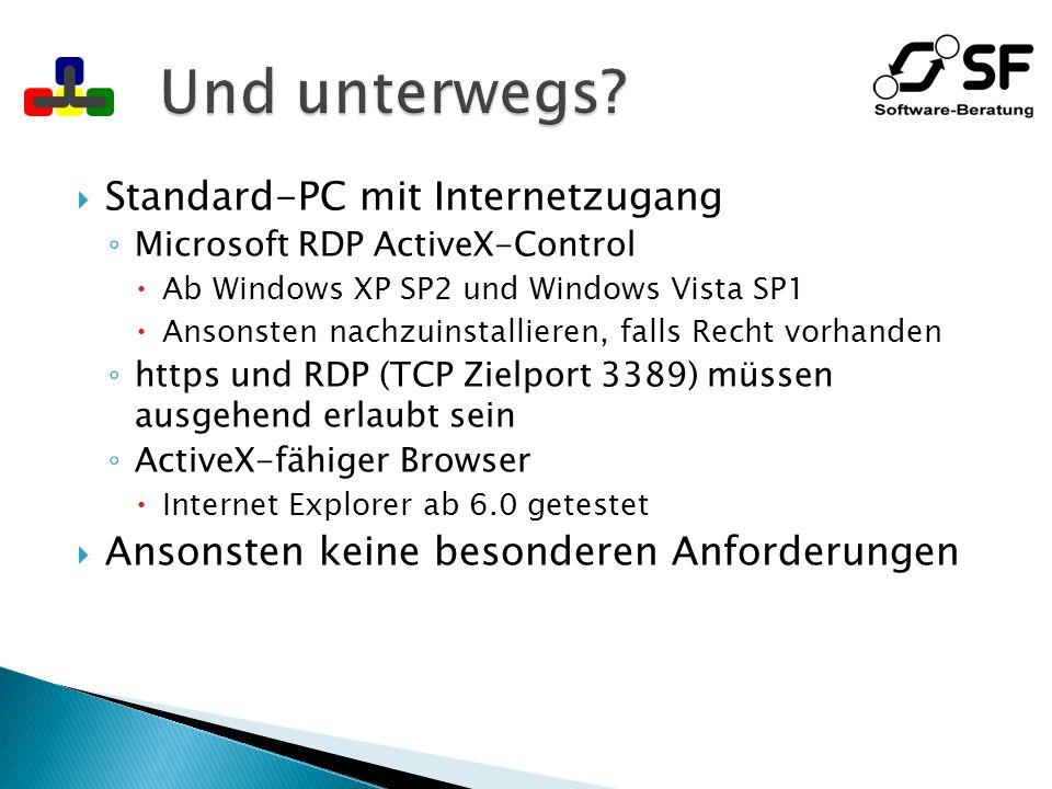 Und unterwegs Standard-PC mit Internetzugang