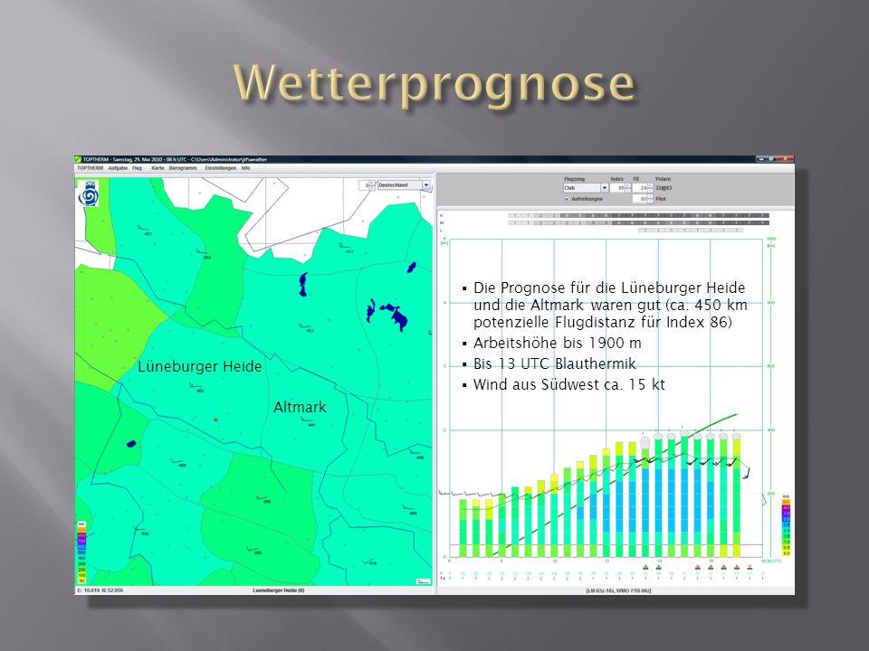 Wetterprognose Die Prognose für die Lüneburger Heide und die Altmark waren gut (ca. 450 km potenzielle Flugdistanz für Index 86)