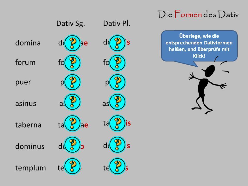 Die Formen des Dativ Dativ Sg. Dativ Pl. domina dominae dominis forum