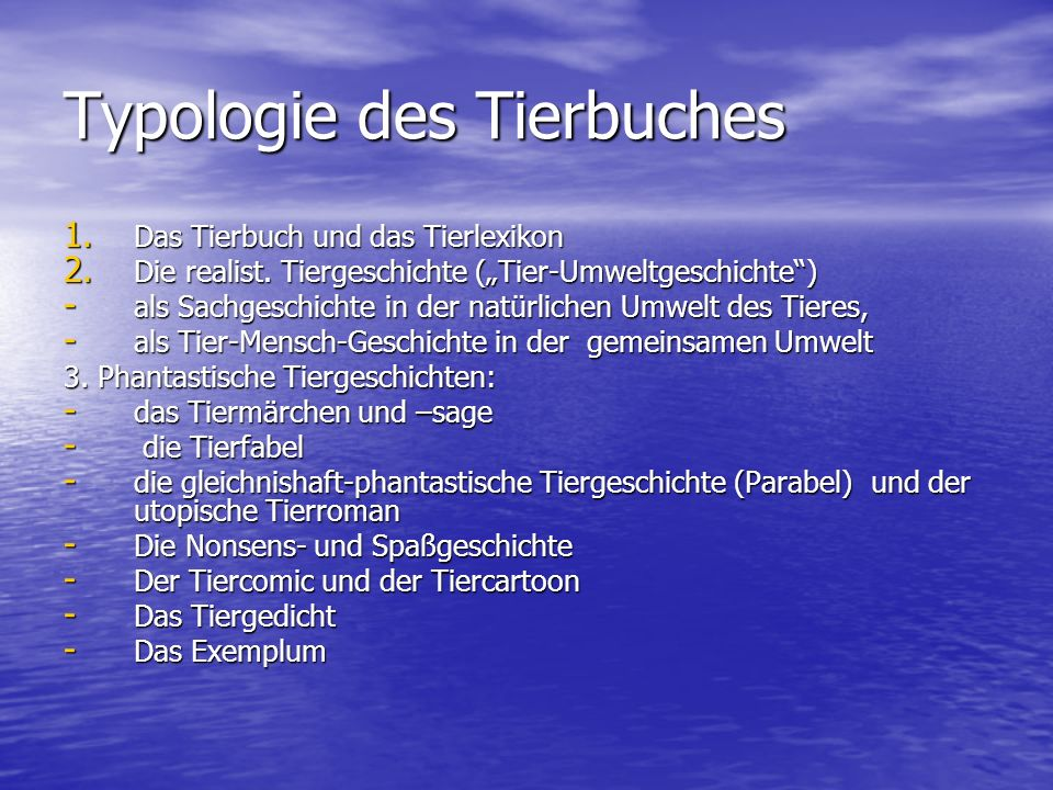 Typologie des Tierbuches