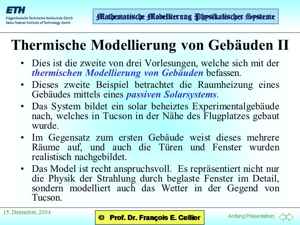 Thermische Modellierung von Gebäuden II