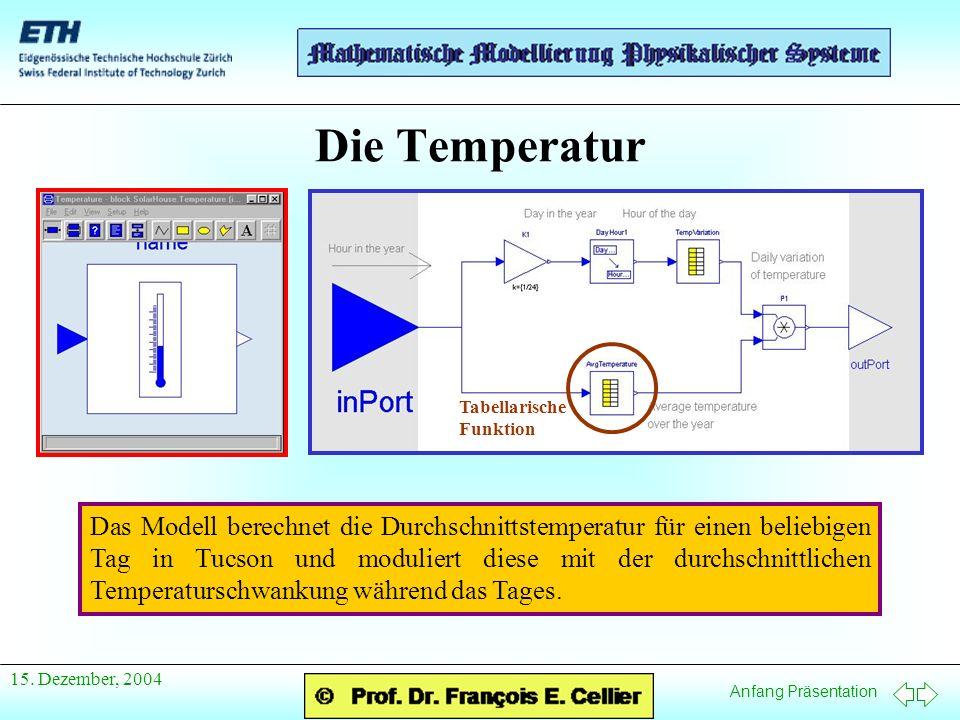 Die Temperatur Tabellarische Funktion.