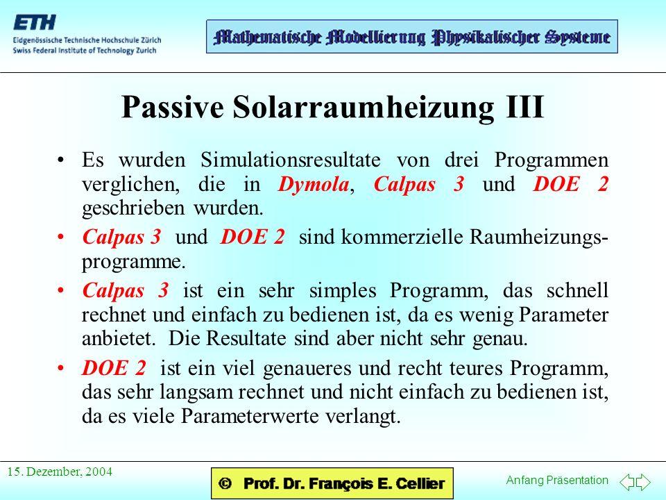 Passive Solarraumheizung III