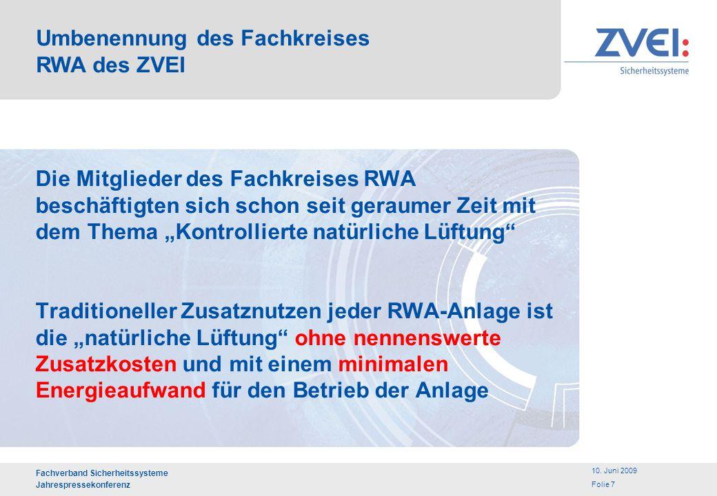 Umbenennung des Fachkreises RWA des ZVEI