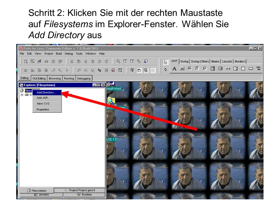 Schritt 2: Klicken Sie mit der rechten Maustaste auf Filesystems im Explorer-Fenster.