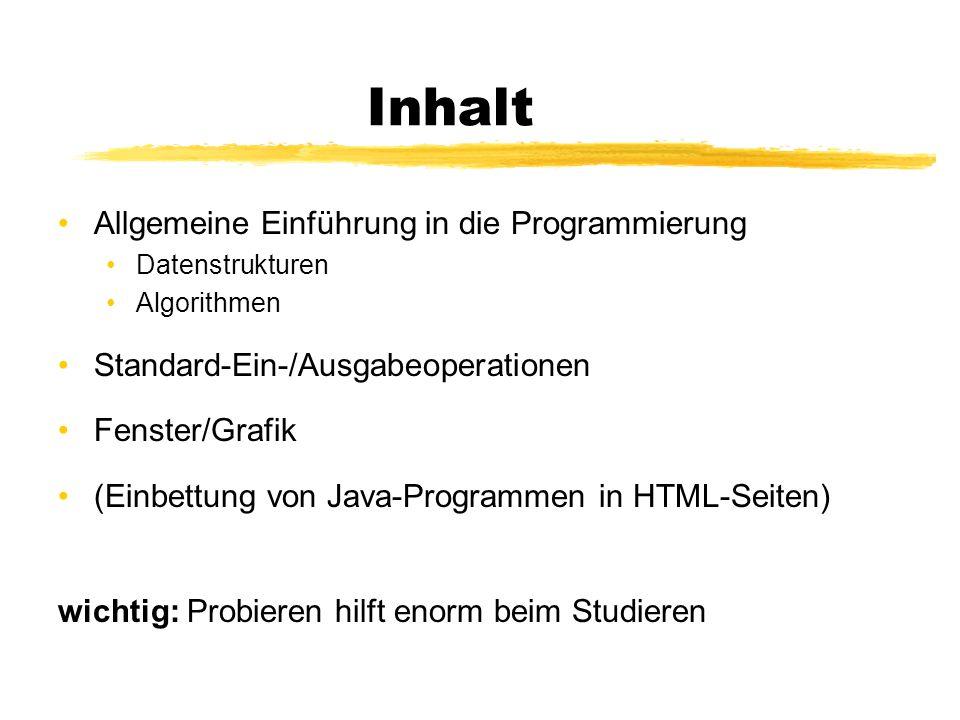 Inhalt Allgemeine Einführung in die Programmierung