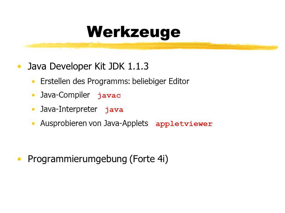 Werkzeuge Java Developer Kit JDK 1.1.3 Programmierumgebung (Forte 4i)