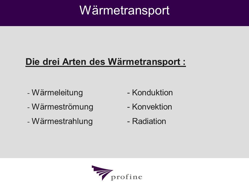 Wärmetransport Die drei Arten des Wärmetransport :